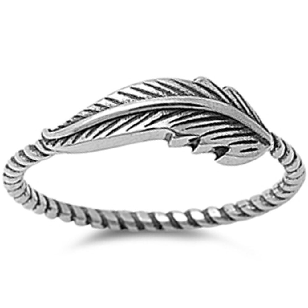 Feather Oxidized Twisted Band Celtic .925 Sterling Silver Ring Size 9