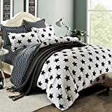 Simplelife Bedding Collection Black Star Solid Simple Style 4pc White Duvet Cover Set Soft Polyester King Size