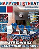 Ultimate Star Wars Party!!!Birthday Party Decoration Supplies Bundle Pack with 16lg&16sm Plates 16-9oz Cups, Matching Table Cover&Jumbo Banner,20 Red&20 Blue Napkins(Bonus Matching Party Straw Pack)