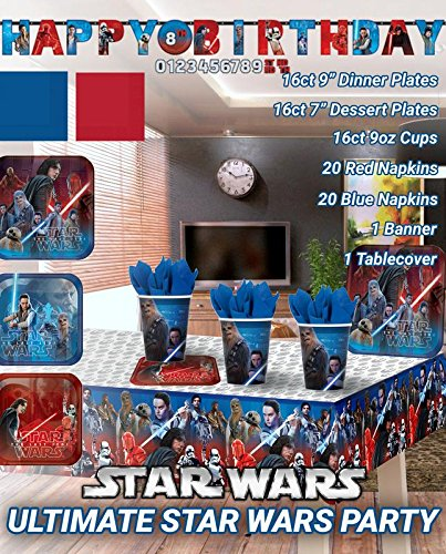 Ultimate Star Wars Party! Birthday Decoration Supplies Bundle Pack For 16 Guests. Matching Table Cover, Cups, Plates, Napkins, and Jumbo Banner. (Bonus Matching Paper Straw Pack)