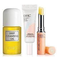DHC Travel Essentials, includes Deep Cleansing Oil Mini 1 fl. oz, Velvet Skin Coat Mini .18 oz, and Lip Cream .05 oz.