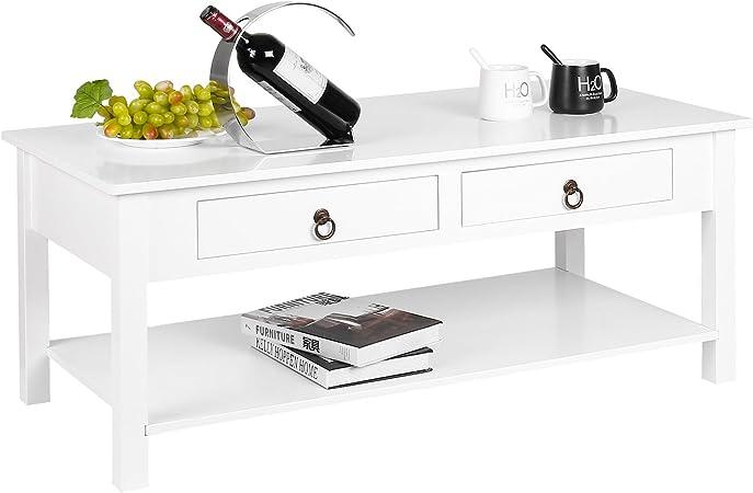 Homfa Table Basse Simple Table De Salon En Mdf Laque Avec Deux