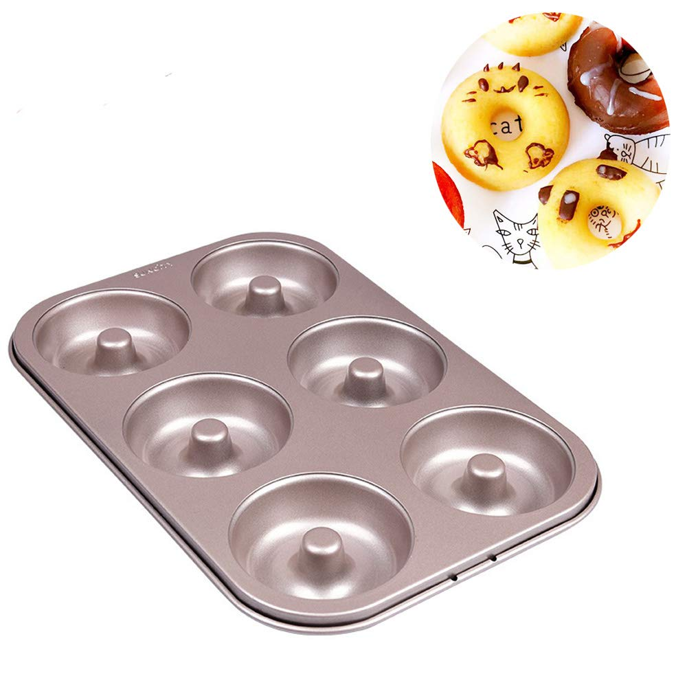 Donut Pans 6 Cavity for Baking Mini Donuts Pan Mold Nonstick Toaster Oven Safe Heavy Carbon Steel Champagne Gold