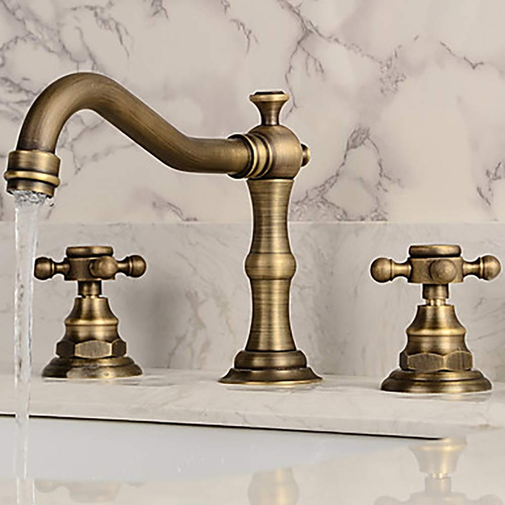 Durable European style Retro Bathroom Sink Faucet - Antique Copper Two Handles Three Holes Bath Faucet practical