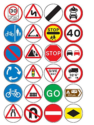 24 X Road Signs Cupcake Cake Toppers Amazon Co Uk Kitchen Home