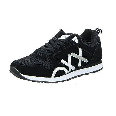 Schwarz Weiß Leder 15014 Damen Boxx Sneaker jL435AR