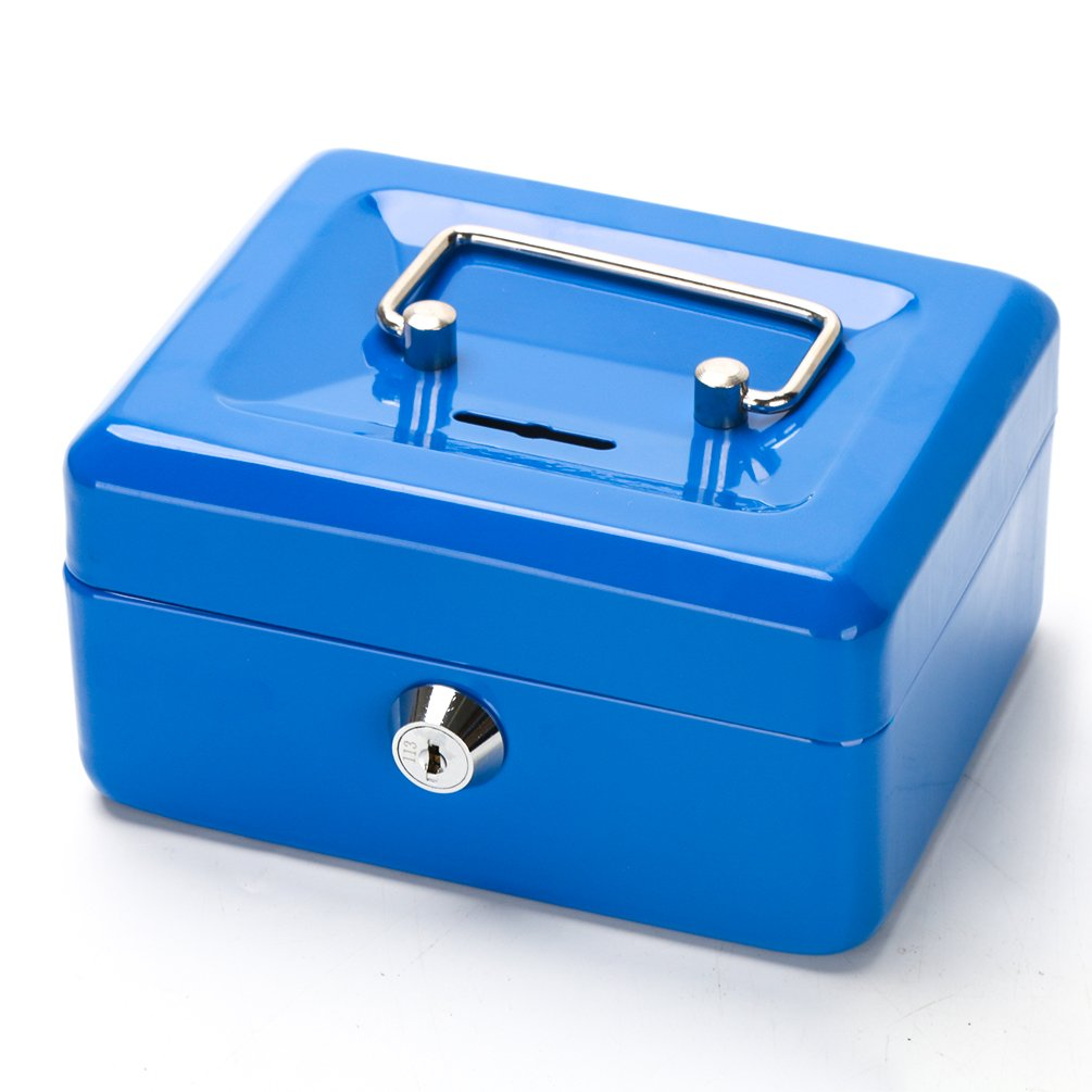Cash Box with Slot for Kids, Decaller Small Money Box with Money Tray & Key Lock, 6 1/5'' x 5'' x 3'', Blue, QH1507XS