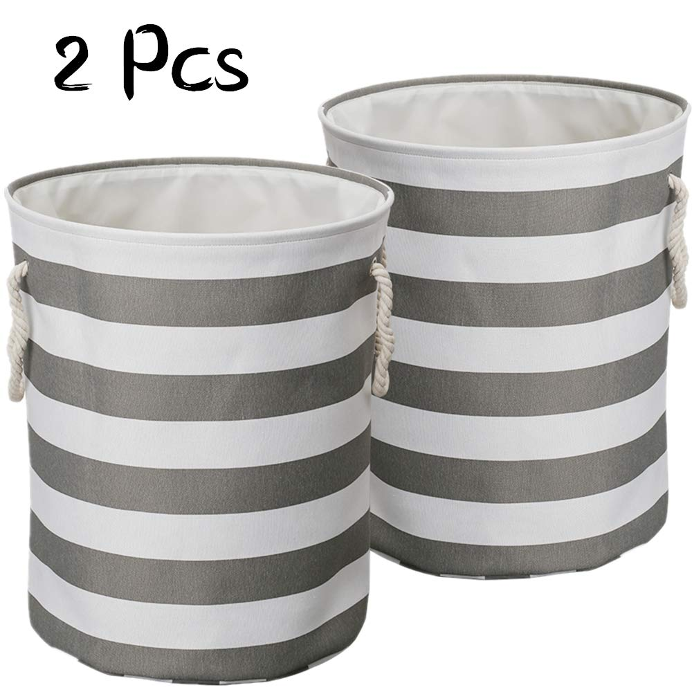 LinTimes 2 Pcs Large Laundry Baskets, Collapsible Laundry Hampers Bins, 17
