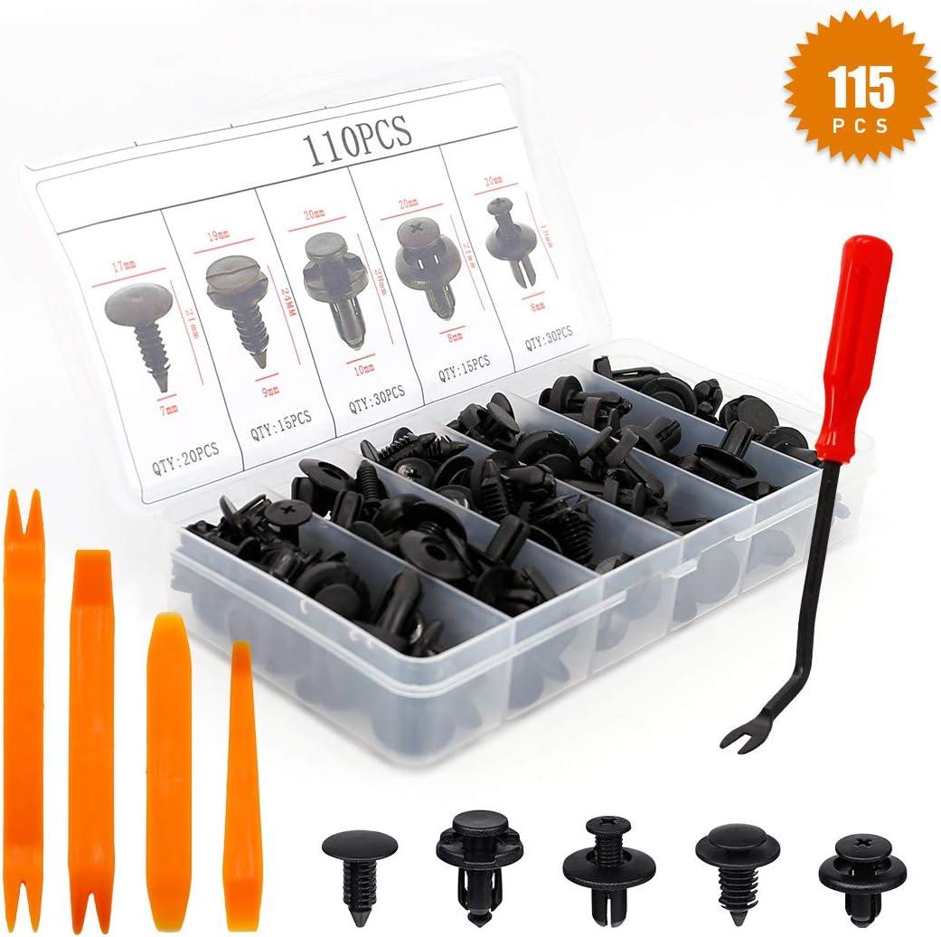 UTSAUTO Lot de 115 clips universels en plastique pour pare-chocs avec rivets de voiture avec outil de retrait de panneau et 4 outils de retrait de panneau