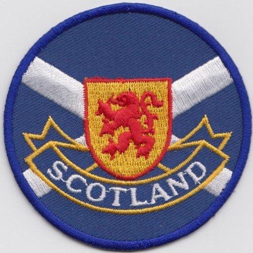 (Scotland Scottish Lion Rampant Crest on Saltire Flag Embroidered Patch Badge)