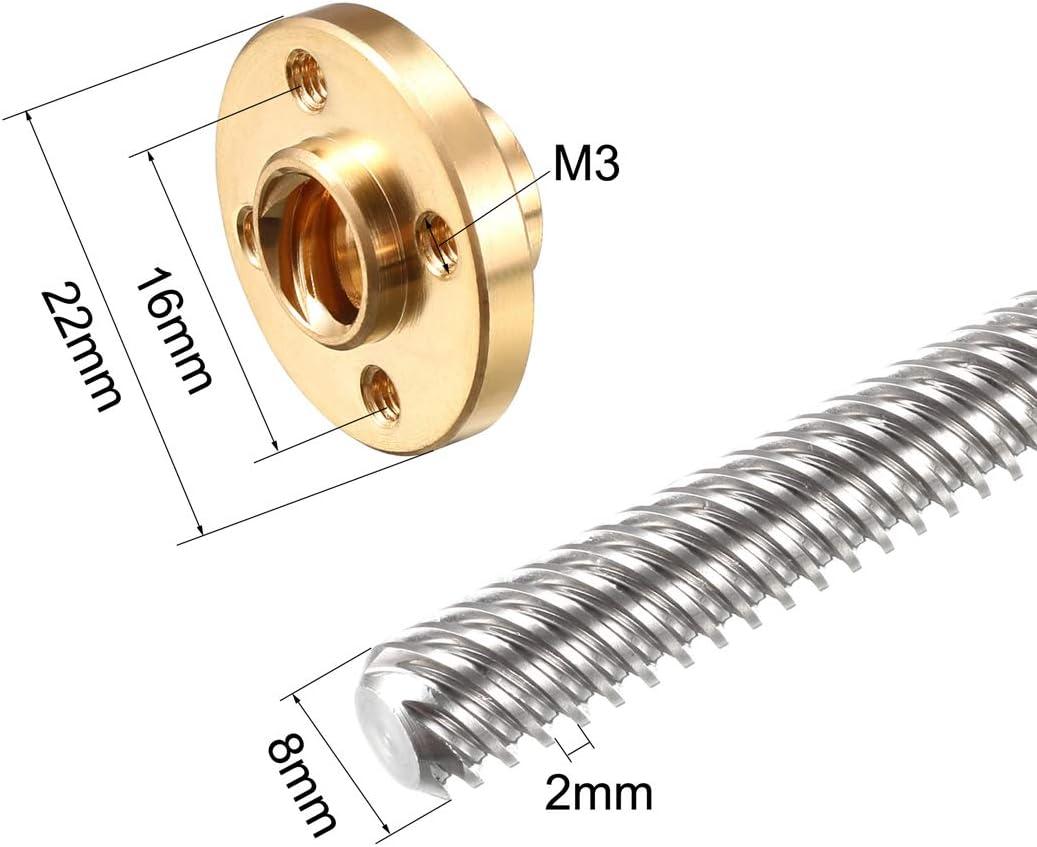 sourcing map 550mm T8 Pas 2mm PB 2mm Vis t/ête filet/ée Tige /Écrou Cuivre pour imprimante 3D