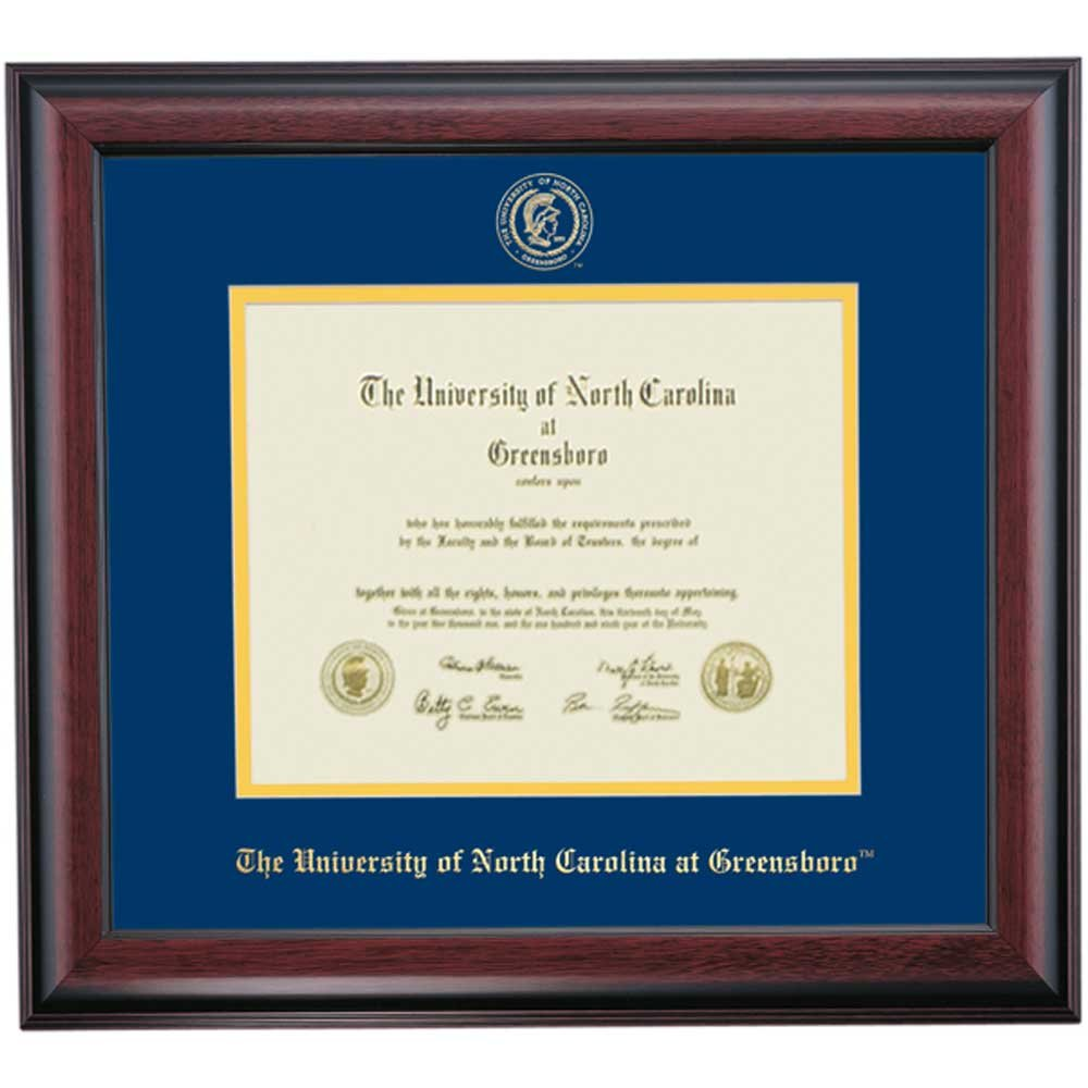 Campus Linens UNC Greensboro Spartans Diploma Frame Navy Gold Matting Embossed Seal