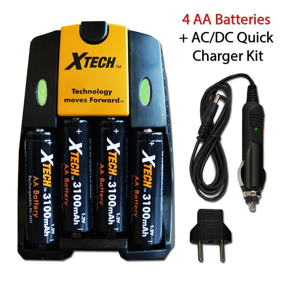 Xtech High Speed AC/DC Charger plus 4 AA NiMH 3100mAh High Capacity Rechargeable Batteries for Nikon Coolpix L840, L830, L820, L810, L620 L610, L320, L30, L28, L26 Digital Cameras.