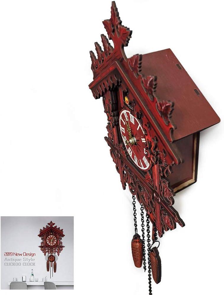 NANANA Reloj de Cuco de la Selva Negra de Madera, Reloj de Madera con Mecanismo de Pilas y Cuco, 250X190 Cm