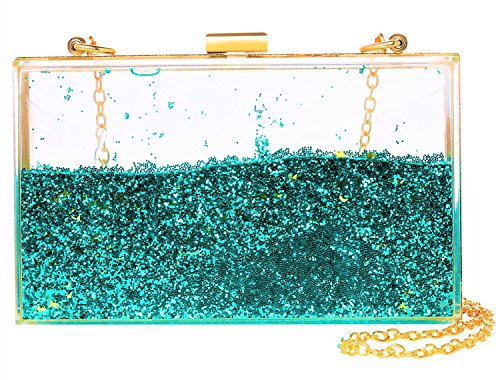 Jevenis Womens Transparent Sequins Chain Clutch Evening Handbag Party Cross-body Purse (New Green)