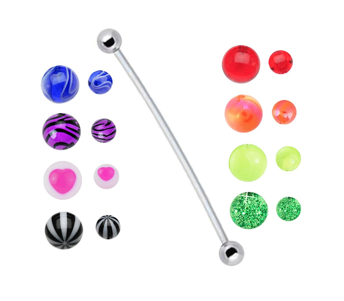 playful piercings Pregnancy ring w 8 Sets of balls Stripes, Pearlized, Glitter, Zebra, Marble, Hearts, Glow Bioflex all plastic adjustable flexible great for Pregnant Belly Navel 14g