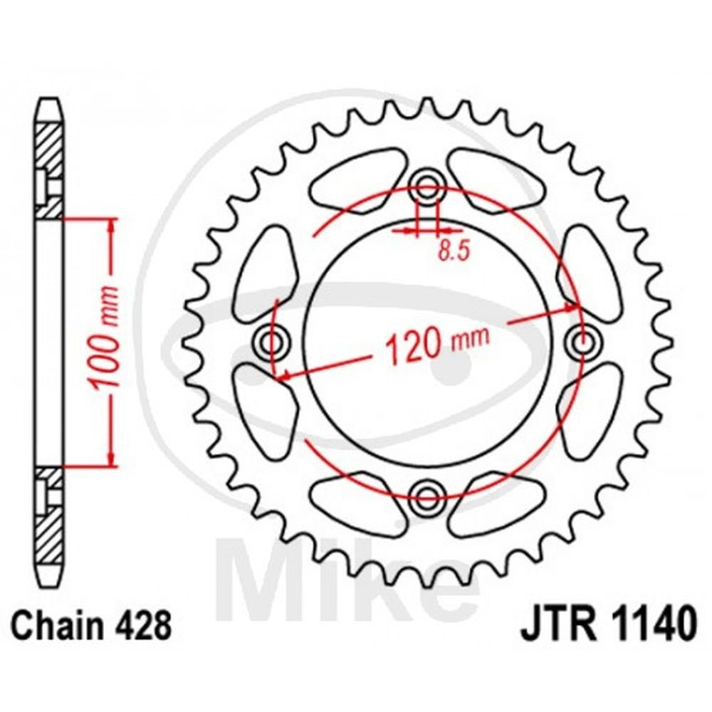CORONA 56 DENTI PASSO 428 DIAM.INT. 100 - CERCHIO FORI 120 JT