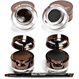 EFINNY 4 in 1 Brown Black Gel Eyeliner and Eyebrow Powder Water-proof Eye Makeup Set Kit