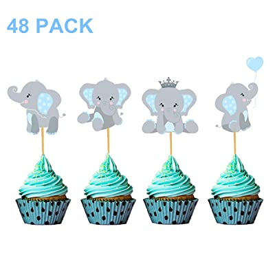 Blue Elephant Cupcake Toppers Cupcake Decorations Food Picks for It's A Boy Baby Shower Kids Birthday Boys Party Supplies 48 Pack: Home & Kitchen