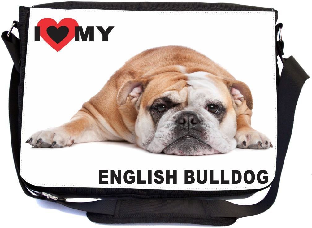 Rikki Knight I Love My English Bulldog Lying Design Premium Messenger Bag - School Bag - Laptop Bag - with Padded Insert for School or Work - with Matching Pencil Case