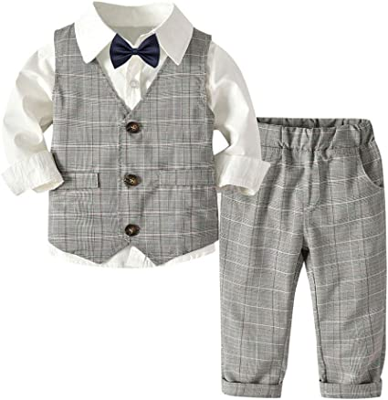 Boys Formal 5 Piece Ivory Floral Bow Tie Suit with Waistcoat Ages 1-15 Years