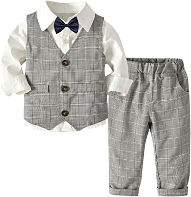 Subfamily Conjunto de bebé niño de Verano pequeños Conjuntos para Bebes Niños Camisa de Manga Larga para niños Chaleco Gris Pantalones Pajarita Caballero Conjunto de 4 Piezas 18 Meses a 5 años: