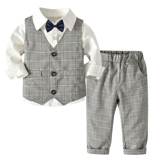 0c4ac3eb555 Subfamily Conjunto de bebé niño de Verano pequeños Conjuntos para Bebes  Niños Camisa de Manga Larga para niños Chaleco Gris Pantalones Pajarita  Caballero ...