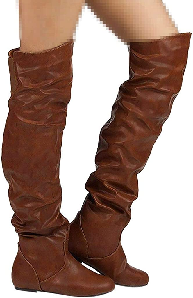 Dainzuy Over The Knee Boots for Women Fashion Classic PU Leather Round Toe Low Heel Motorcycle Riding Long Boots