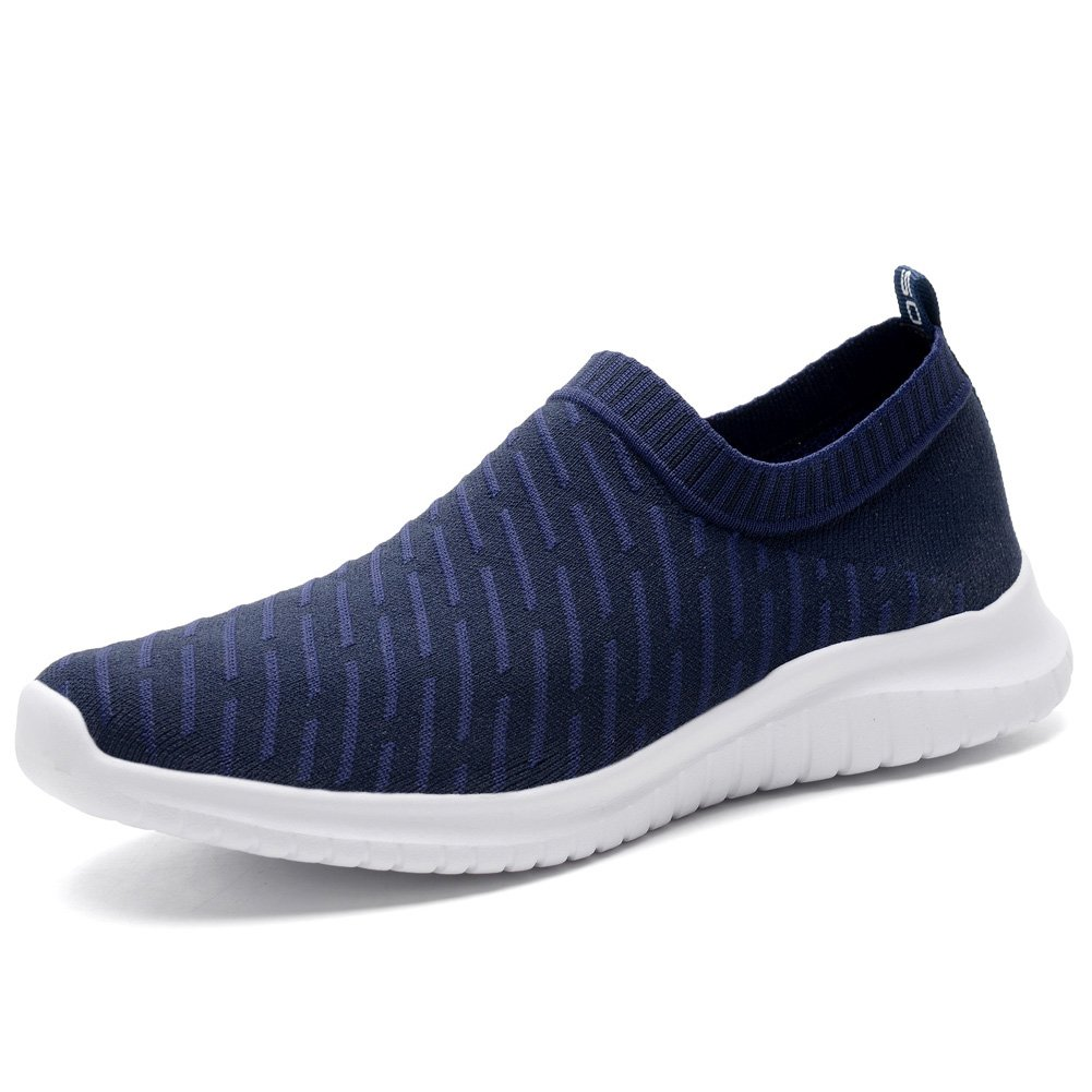 KONHILL Women's Lightweight Casual Walking Athletic Shoes Breathable Mesh Running Slip-On Sneakers, Navy, 36