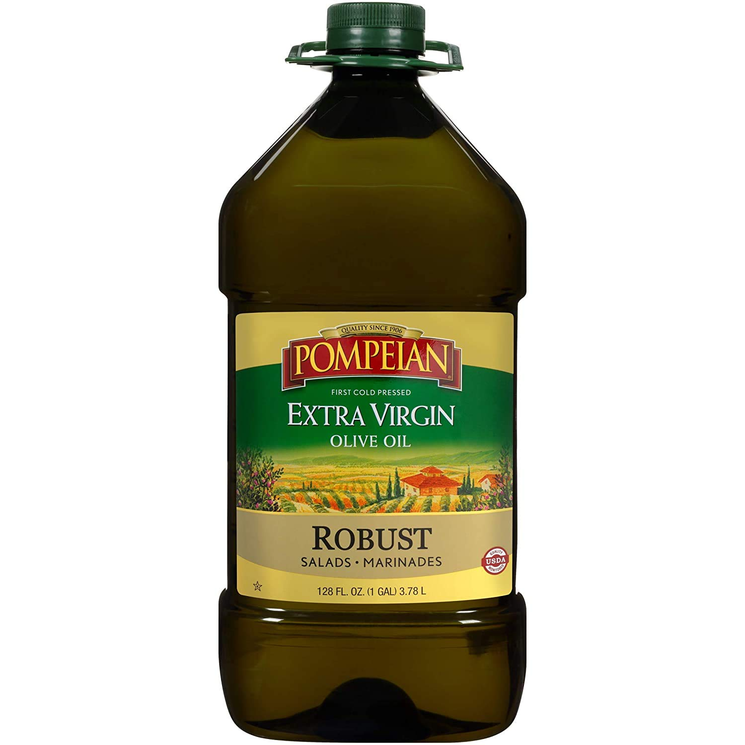 Pompeian Robust Extra Virgin Olive Oil, First Cold Pressed, Full-Bodied Flavor, Perfect for Salad Dressings and Marinades, Naturally Gluten Free, Non-Allergenic, Non-GMO, 128 FL. OZ., Single Bottle