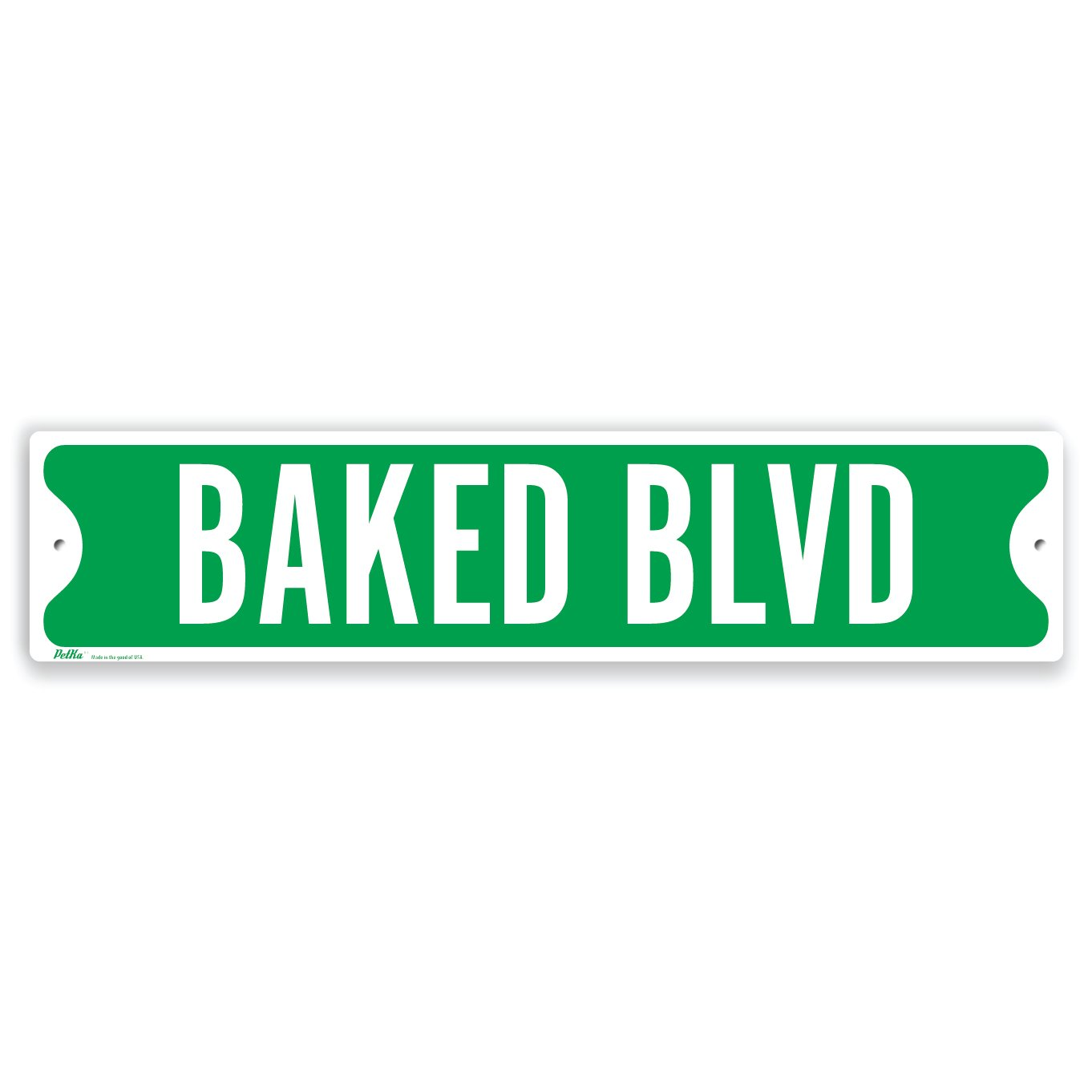 PetKa Signs and Graphics PKSS-0020-NA_18x4''Baked BLVD'' Aluminum Sign, 18'' x 4'', White on Green by Petka Signs and Graphics