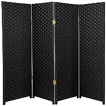 Oriental Furniture Short Size 4 Panel Room Divider, 4-Feet Rattan Like Woven Plant Fiber Folding Privacy Screen, Black