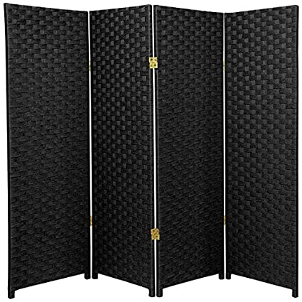 Oriental Furniture Short Size 4 Panel Room Divider 4 Feet Rattan