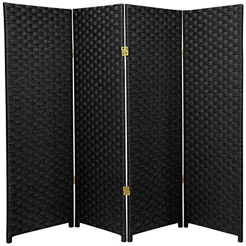 Oriental Furniture 4 ft. Tall Woven Fiber Room Divider - Black - 4 Panel