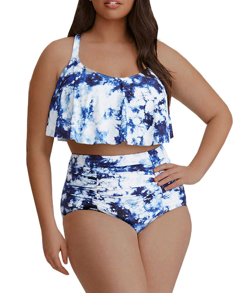 9c4fe143ef8 Womens Plus Size Swimwear Peplum Tankini Tops Tummy Control Floral Retro  Swimsuits product image