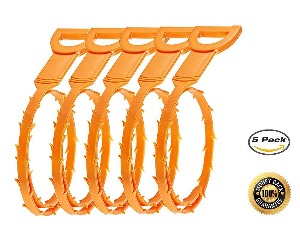 Junan - spirale sturalavandini, strumento di pulizia per rimuovere capelli e intasamenti dallo scarico (confezione da 5 pezzi)