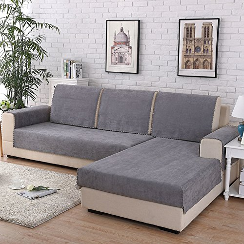 HM&DX Waterproof Sofa Cover for Pets Dog Sectional Couch Anti-Slip Water Resistant Stain Resistant Multi-Size Sofa Cover Slipcover Furniture Protector -Sold by Piece-Grey 110x160cm(43x63inch)