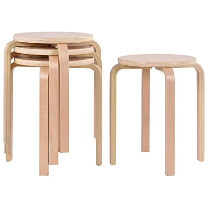 Exceptionnel COSTWAY 17 Inch Bentwood Stools Backless Round Top Stackable Wood Stool For  Kitchen Home,