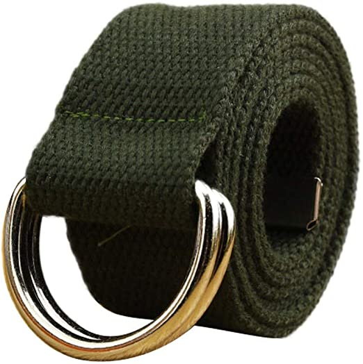 """Webbed Fabric Waistband 44/"""" Military Style Cotton Canvas Belt Silver Buckle"""