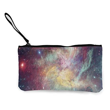 Amazon.com: Monedero de lona Starry Sky Galaxy negro con ...