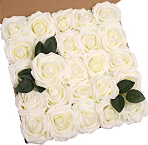 N&T NIETING Artificial Flowers Roses Bulk, 25pcs 3.74in Large Size Real Touch Ivory Artificial Foam Roses with Stem for Cake Decoration, Wedding Bridal Bouquets Centerpieces, Party Home Display
