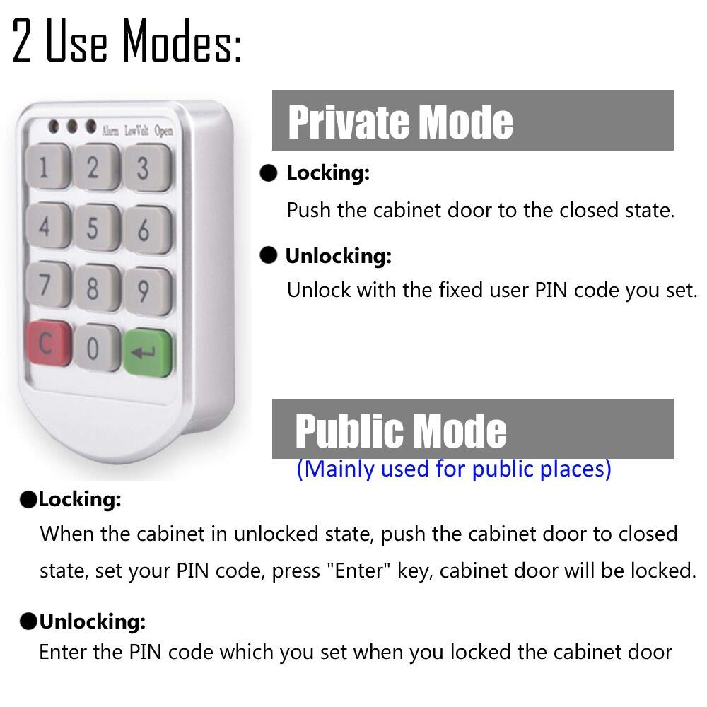 Electronic Cabinet Lock Digital Keypad 10 Code Electric Combination Circuits With Password Entry For Drawer Locker Keyless Door