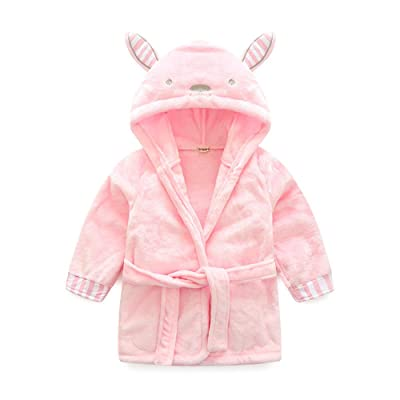 Anna&Judy Little Girl's Flannel Warm Bathrobe Unisex Kids Robe Pajamas Sleepwear