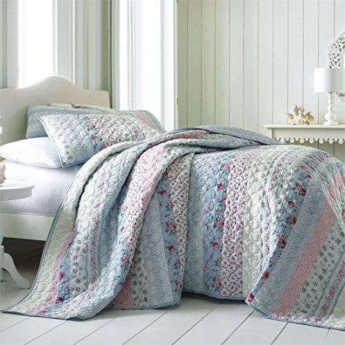 Brylanehome Claudine Floral Printed Bedspread (Blue Pink Floral,King)