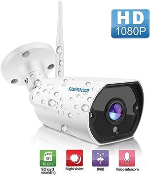 Opinión sobre Cámara de vigilancia exterior 1080P Full HD, cámara de seguridad impermeable IP66 WLAN IP con conexión LAN&WiFi, detección de movimiento, audio de dos vías, acceso remoto, 20 m de visión nocturna