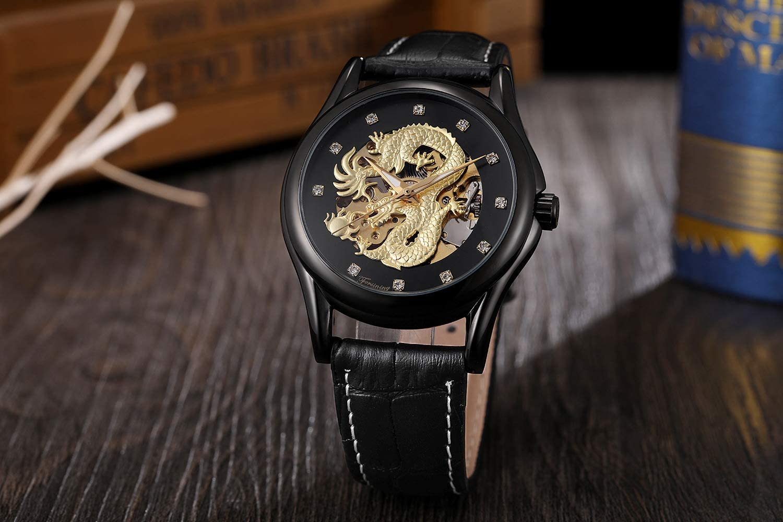 XRLSONE Montres Diamant Homme Zodiac Golden Dragon Montre Mécanique Automatique D