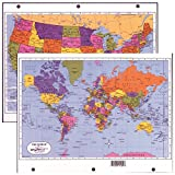 Painless Learning Two Sided Laminated 8 1/2'' X 11'' UNITED STATES/WORLD MAP Divider for 3-Ring Binders 5 Pack