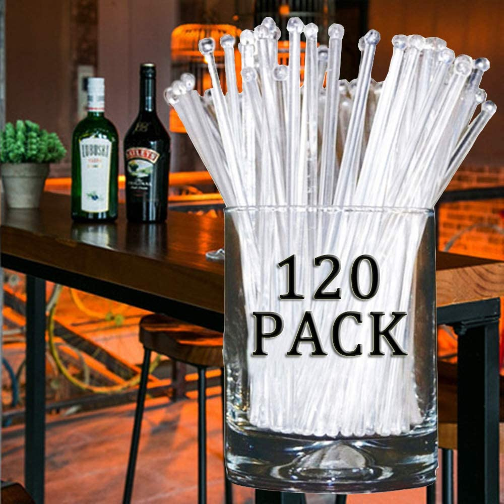 120Pcs Swizzle Sticks, Clear Plastic Round Top Disposable Head Stirrer, Beverage Stirrers for Cocktails Coffee Tea Hot Chocolate and Mixed Drinks (120 Pcs, 7.3 Inch)