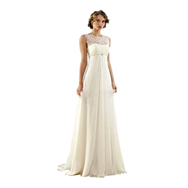 DingDingMail Women\'s Lace Chiffon Beach Wedding Dresses Backless ...