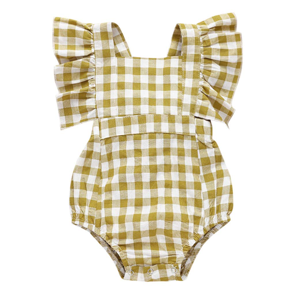 NUWFOR Newborn Infant Baby Girl Plaid Romper Ruffled Princess Bodysuit Clothes (Yellow,3-6 Months)